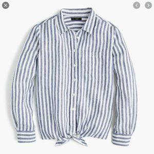 J. Crew Tie Front Linen Button Down Shirt Stripe 4